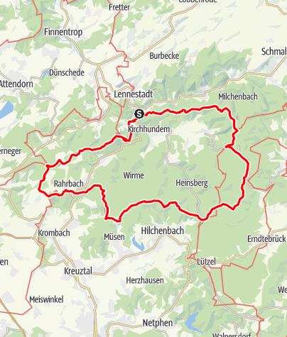 Karte / Hundem-Paad - Rundwanderweg Kirchhundem - mitten am Rothaarsteig