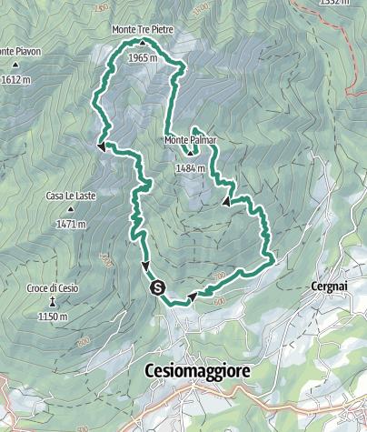 Cartina / Monte Palmàr – Monte Cimone o Cimón – Monte Tre Pietre