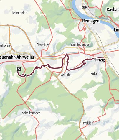 Karte / AhrSteig Etappe 7: Bad Neuenahr Mitte Bhf bis Sinzig (17,6 km)