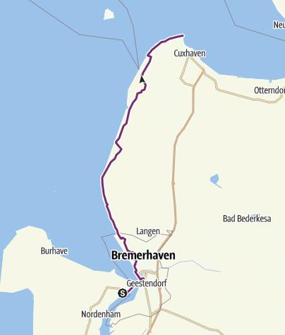 Karte / Weser-Radweg, 8. Etappe: Von Nordenham/Bremerhaven nach Cuxhaven
