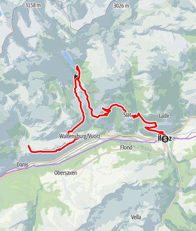 Karte / Etappe 2 Gravelbike-Route Vorderrhein: Ilanz – Lag Pigniu – Brigels