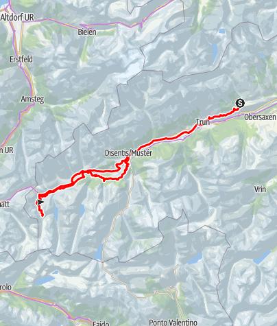 Karte / Etappe 3 Gravelbike-Route Vorderrhein: Brigels – RhB – Lai Tuma – Disentis