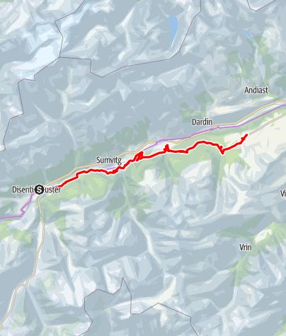 Karte / Etappe 4 Gravelbike-Route Vorderrhein: Disentis – Obersaxen