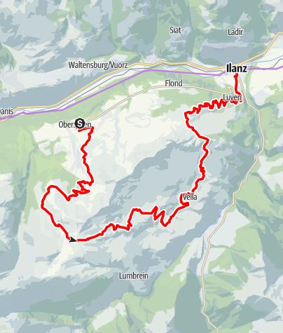 Karte / Etappe 5 Gravelbike-Route Vorderrhein: Obersaxen – Alp Nova – Ilanz