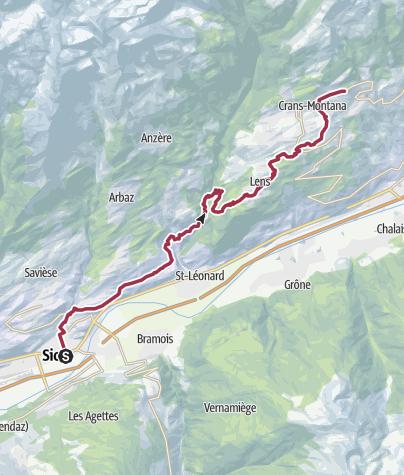 Map / Von Sion an der Bisse de Clavau nach Crans-Montana