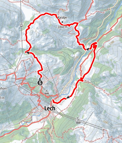 Karte / Wanderung zum Skyspace Lech & über das Auenfeld zur Bodenalpe