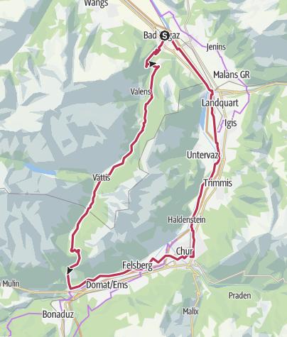 Karte / Geologische E-Bike-Tour: via Kunkelspass um den Calanda