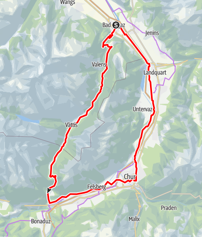 Map / Geological E-Bike tour: over the Kunkelspass around Calanda