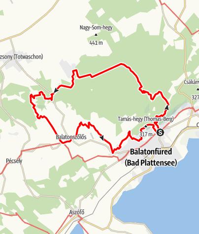 Térkép /  Füredi ősz teljesítménytúrák 30 km