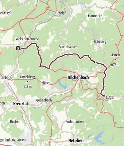 Karte / Siegerland-Höhenring Etappe 6: Rahrbacher Höhe - Hilchenbach