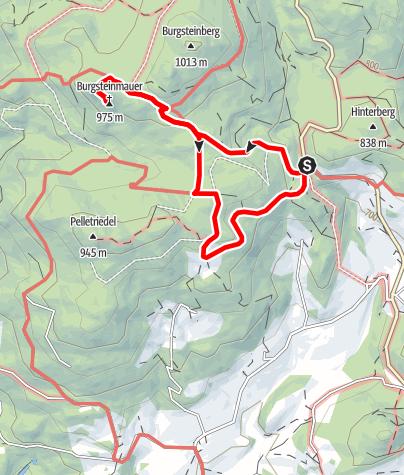 Mapa / Burgsteinmauer 975m - Variante a