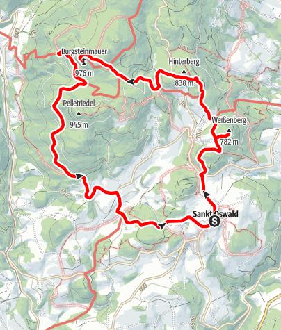 Map / Burgsteinmauer 975 m - Variante b