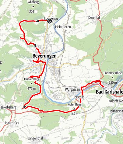 Kaart / Naturparktrail Weserhöhenweg 2: Von Blankenau nach Bad Karlshafen