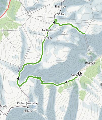Karte / Samnaun Dorf – Salaaser Kopf – Alp Trider Sattel