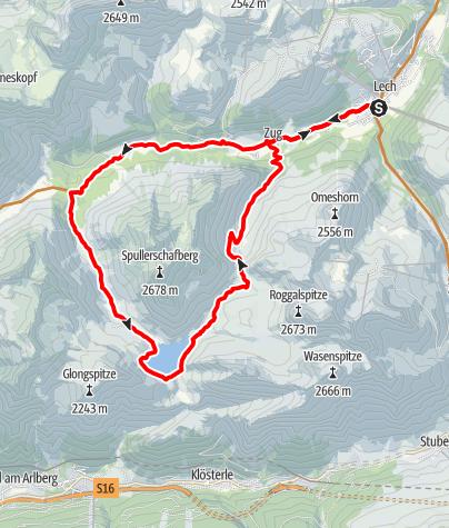 Karte / Spullersee-Umrundung | Lech