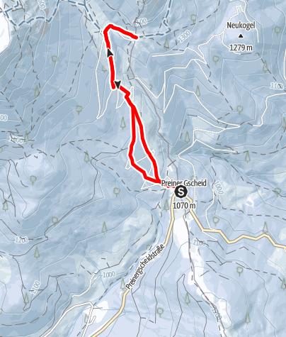Karte / Mit Schneeschuhen zum Waxriegelhaus / Rax im Naturpark Mürzer Oberland