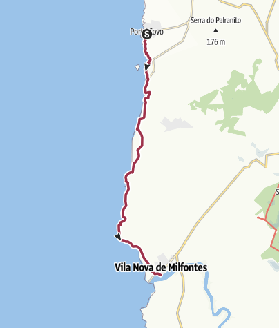 Map / Porto Covo nach Vila Nova de Milfontes