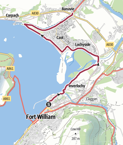 Map / Wanderung von Fort William zur Neptun Staircase