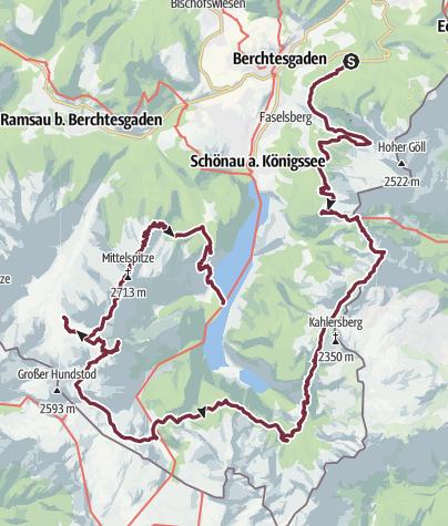 Karte / Nationalpark Bechtesgaden - Königssee - Watzmann: Tour der Partnerstädte 2014