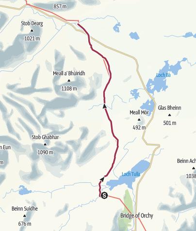 Karte / Wanderung von Inveroran nach Kingshouse