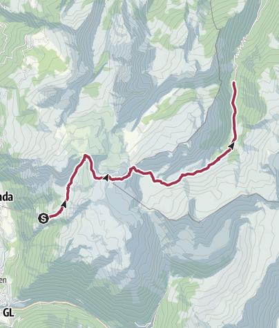 Karte / Tageswanderung Aeugstenhütte - Murgseen - Merlen