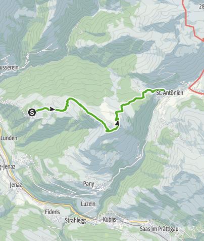 Karte / Von Stels über's Chrüz nach St. Antönien