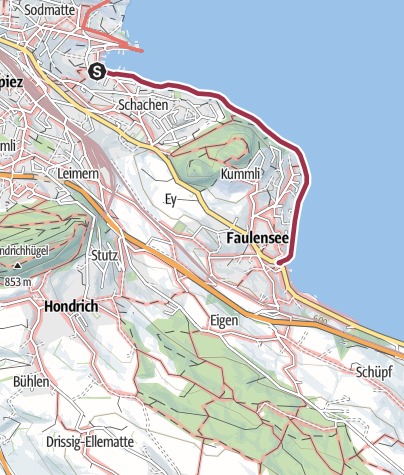 Map / Lakeside path from Spiez to Faulensee