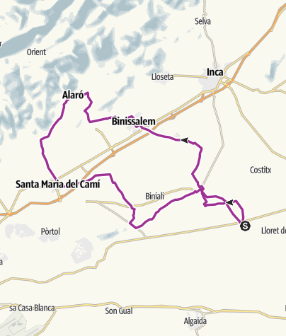 Map / Ruberts to Alaró & Santa Maria