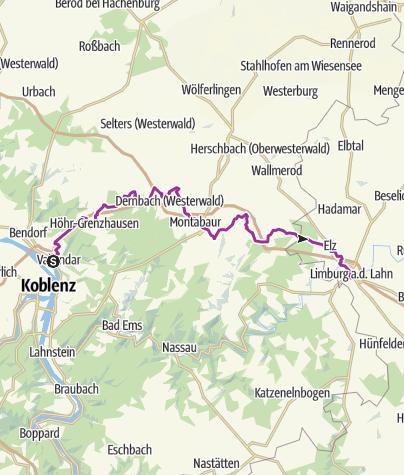 Karte / Radweg Südlicher Westerwald