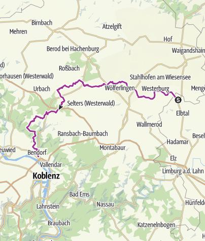 Carte / Westerwald-Rhein-Radweg