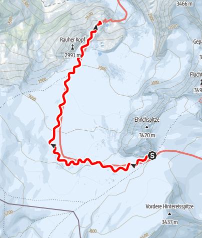 Kaart / Übergang Brandenburger Haus zur Rauhekophütte
