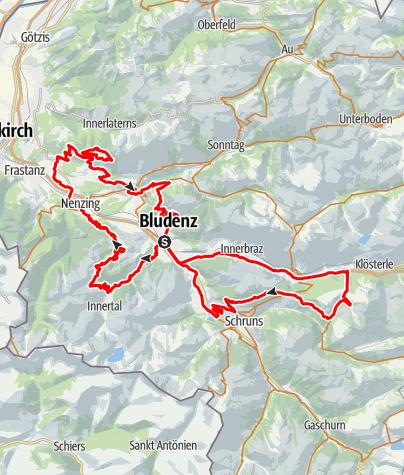 Karte / 5-Täler Mountainbike-Tour | Bludenz