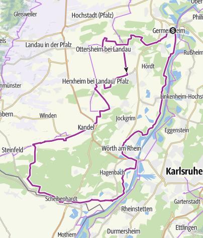 Karte / Südpfalz Rundtour - R(h)eines Radvergnügen zwischen Natur & Genuss