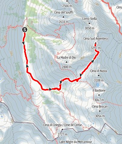 Kaart / Cima Argentera 3297m, Königin der Seealpen
