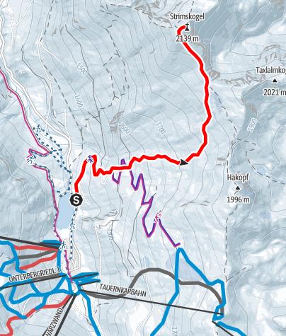 Karte / Skitour Strimskogel Zauchensee