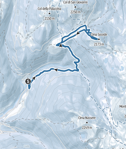 Map / Snowshoeing to Passo 5 Croci and Cima Socede