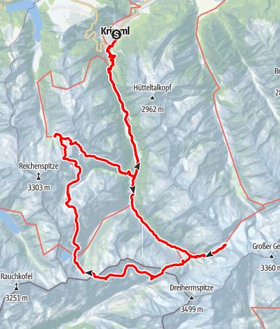 Kaart / Krimml Achental 55+tocht