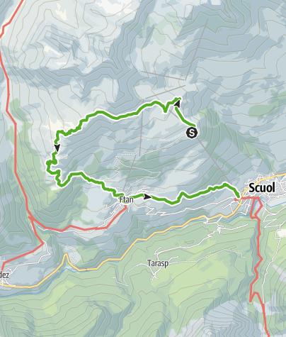 Karte / Motta Naluns - Alp Clünas - Alp Laret - Ftan - Scuol