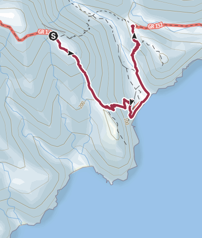 Kaart / Degollada de la Peraza to San Sebastián (longer route with optional detour via GR-132)