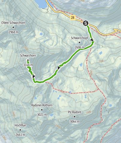 Karte / Flüela - Schwarzhorn (retour)