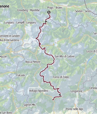 Mappa / AV1 Alta Via 1 Across the Dolomites - Overview