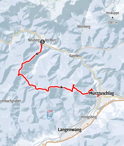 Karte / Schneeschuhwanderung vom Stift Neuberg bis zum UNESCO Weltkulturerbe Semmeringbahn