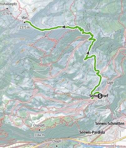 Kaart / Van Seewis naar de uitzichtsberg Vilan