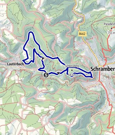 Karte / Zur Hohenschramberg, Aussichtspavillon und dem Kreuzfelsen