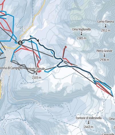 Cartina / Tracciato di sci alpinismo in notturna: dai Fortini al Graffer