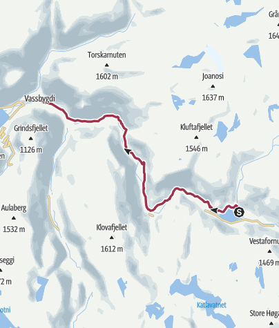 Map / Aurlandsdalen Valley from Østerbø to Vassbygdi