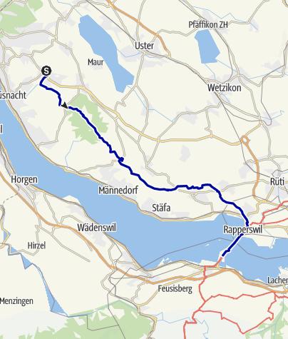 Karte / Pforzheim – Mittelmeer: 11.Etappe Zumikon über dem Zürisee -  Hurden
