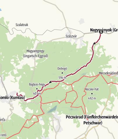 Térkép / Váraljáról Komlóra a Farkas-árok szurdokán át