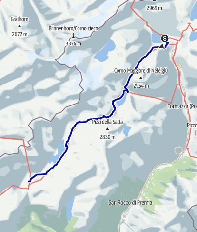 Karte / Pforzheim – Mittelmeer: 19.Etappe Rif. E. Margaroli - Alpe Devero