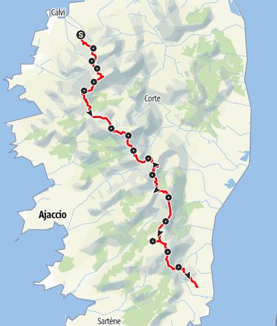 Kaart / GR20: Der härteste Fernwanderweg Europas